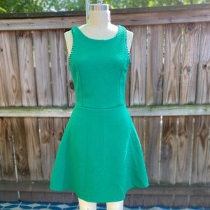 Green Textured Fit & Flare W/ Hoop Earrings